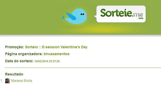 Resultado do Sorteio :: Valentine's Day